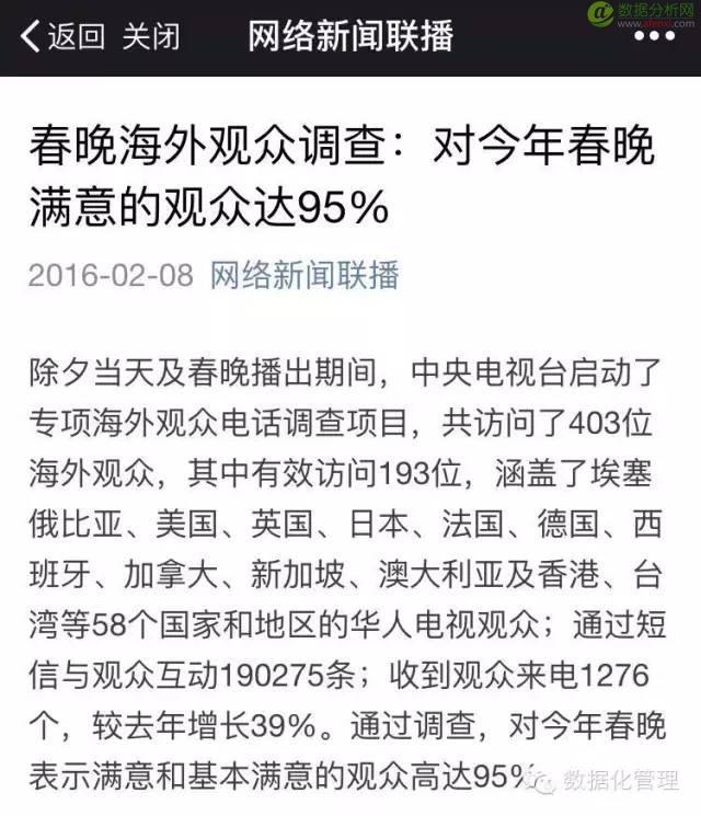统计数据会撒谎?95%海外观众对春晚满意