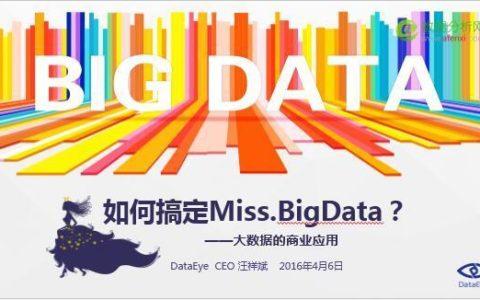 DataEye CEO汪祥斌:大数据的商业应用——如何搞定Miss.BigData